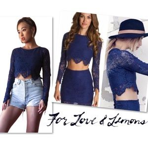 For Love & Lemons Midnight Crop Top in Sapphire M